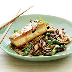Soba Noodles with Miso-Glazed Tofu and VegetablesRecipe