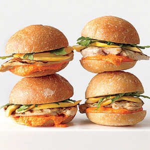 Grilled Chicken Sandwiches with Pickled Squash and Romesco MayonnaiseRecipe