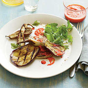 Grilled Eggplant with Roasted Red Pepper SauceRecipe