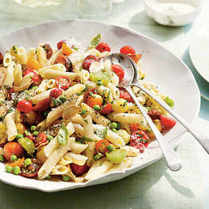 Penne with Herbs, Tomatoes, and PeasRecipe
