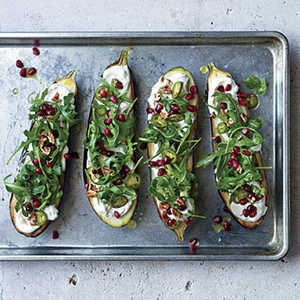 Roasted Eggplant with Pomegranate, Pickled Chiles, and PecansRecipe