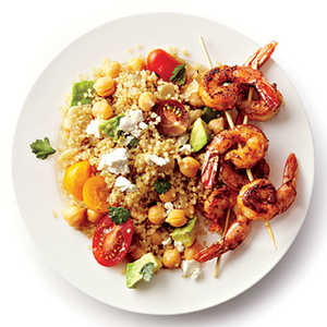 <p>Spicy Grilled Shrimp with Quinoa Salad</p>