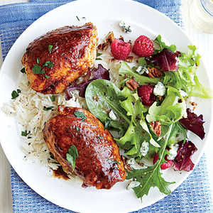 Spiced Chicken Thighs with Garlicky RiceRecipe