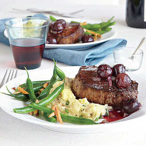Seared Steaks with Red Wine-Cherry SauceRecipe