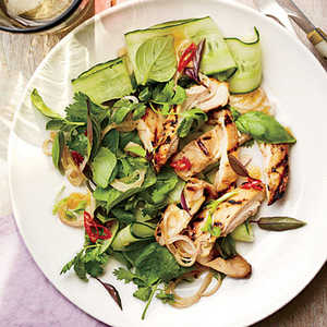Grilled Chicken Thighs with Thai Basil Salad Recipe