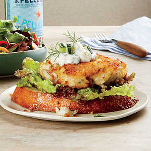 Open-Faced Crab Cake Sandwiches with Tzatziki Recipe