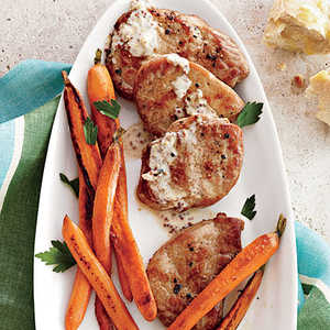 Pork Scaloppine with Mustard Pan Sauce and Baby CarrotsRecipe