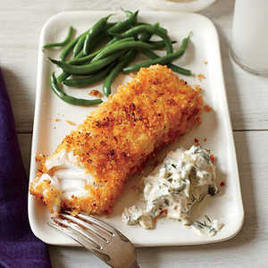 <p>Crispy Fish with Lemon-Dill Sauce</p>
