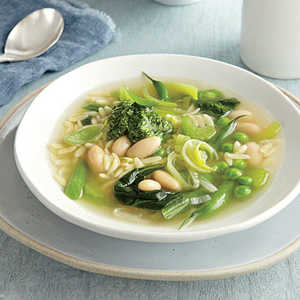 Green Vegetable Soup with Lemon-Basil PestoRecipe