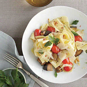 Pasta with Eggplant, Pine Nuts, and RomanoRecipe