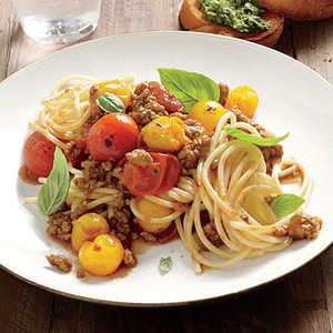 Pasta with Roasted-Tomato Meat SauceRecipe