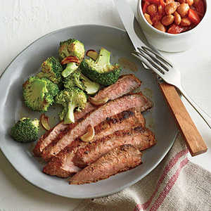 Cowboy Flank Steak with Sweet and Smoky BeansRecipe
