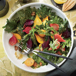 Fizz Kale Salad with Roasted Garlic-Bacon Dressing and BeetsRecipe
