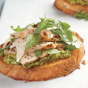 Open-Faced Chicken Sandwiches with Green Pea Spread and ParmesanRecipe