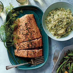 Roasted Side of Salmon with Shallot CreamRecipe