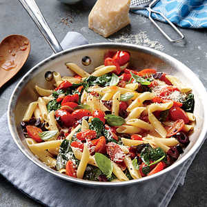 Grape Tomato, Olive, and Spinach Pasta Recipe