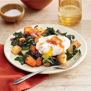 Vegetable and Greens Hash with Poached EggRecipe