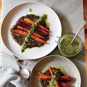 Whole Roasted Carrots with Black Lentils and Green HarissaRecipe
