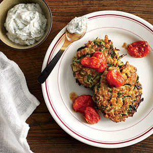 Zucchini-Farro Cakes with Herbed Goat Cheese and Slow-Roasted TomatoesRecipe