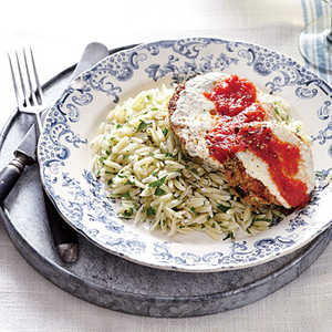 Eggplant Parmesan with Parsley Orzo Recipe