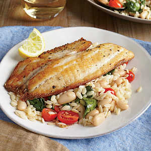 Seared Tilapia with Spinach and White Bean OrzoRecipe
