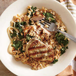 Grilled Pork Medallions with Farro and EscaroleRecipe
