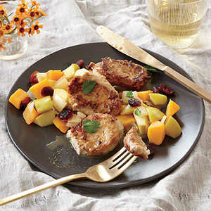 Pork Cutlets with Butternut Squash, Apple, and Cranberry Sauté Recipe