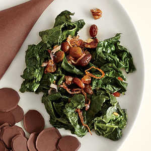 Wilted Kale with Golden Raisins and PecansRecipe