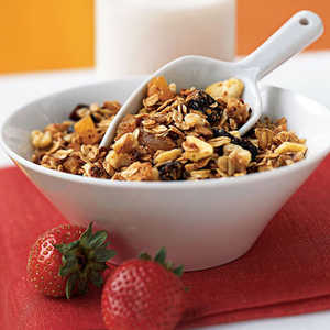 Three-Grain Breakfast Cereal with Walnuts and Dried Fruit Recipe