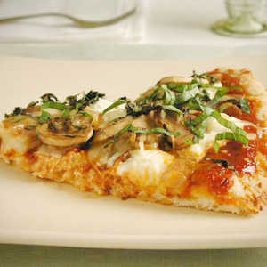Three-Cheese Pizza with Mushrooms and Basil Recipe