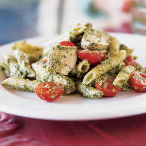 Cilantro-Serrano Pesto with Grilled Chicken and PenneRecipe