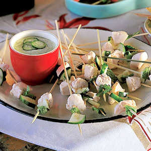 Celestial Chicken, Mint, and Cucumber Skewers with Spring Onion SauceRecipe