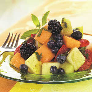 Melon, Berry, and Pear Salad with Cayenne-Lemon-Mint SyrupRecipe