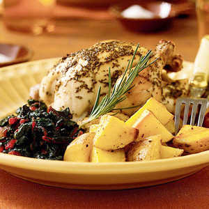 Rosemary-Lemon Cornish Hens with Roasted PotatoesRecipe