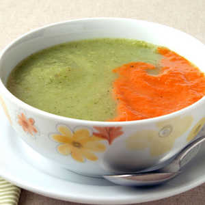 Zucchini and Fennel Soup with Roasted Red Pepper PureeRecipe