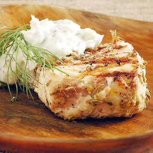 Fennel-Marinated Halibut with Fennel Tzatziki Recipe