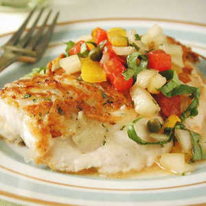 Potato-and-Herb Crusted Snapper with Yellow Pepper Salsa Recipe