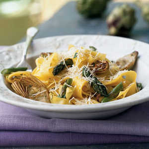 Pappardelle with Lemon, Baby Artichokes, and AsparagusRecipe