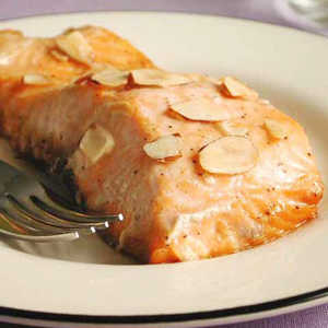 Salmon with Maple Syrup and Toasted Almonds Recipe