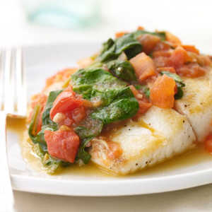 Sautéed Snapper with Plum Tomatoes and Spinach Recipe