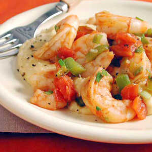 Shrimp and Tomatoes with Cheese GritsRecipe