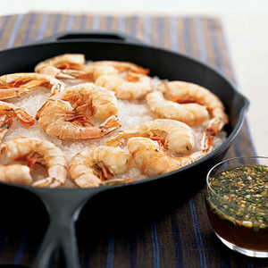 Salt-Roasted Shrimp with Lemon-Honey Dipping Sauce Recipe