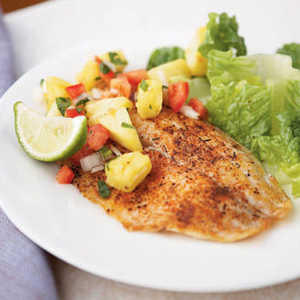 <p>Spicy Tilapia with Pineapple-Pepper Relish</p>