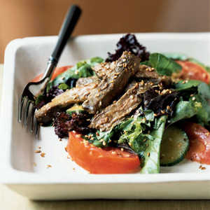 Grilled Skirt Steak and Mesclun Salad with Miso DressingRecipe