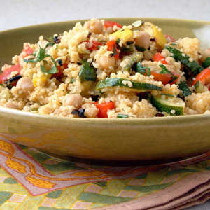 Grilled Vegetables and Chickpeas with CouscousRecipe