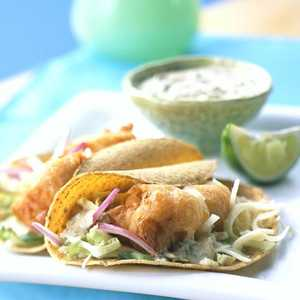 Beer-battered Fish Tacos with Baja SauceRecipe