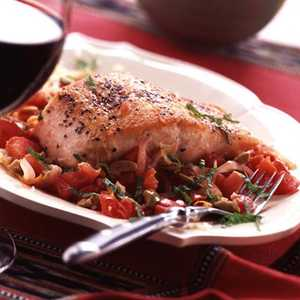 Salmon on Moroccan Melted TomatoesRecipe