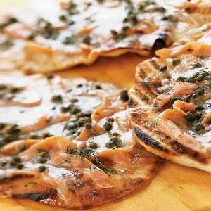 Grilled Pizzettes With Smoked Salmon and CapersRecipe