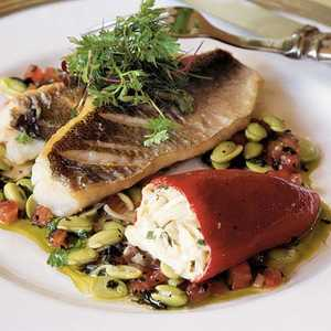 Speckled Trout with Crab-stuffed Piquillos, Edamame, and Truffle VinaigretteRecipe