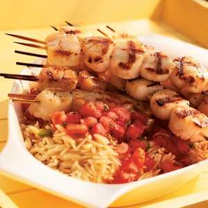 Grilled Scallops with Tomato-Mint Sauce and OrzoRecipe